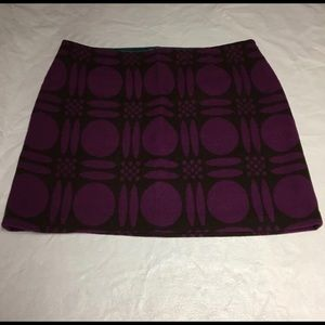 Boden Wool Blend Skirt, Size 16R. Purple and brown